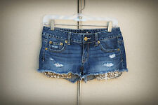 AMERICAN EAGLE Size 0/2 Exposed Gold Sequin Pockets Hot Mini Denim Shorts