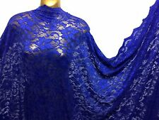 *NEW*Royal Blue Floral Double Scallop Spandex Lace Bridal/Dress Fabric*FREE P&P*