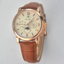 42mm Ossna Automatic Moon Phase Rose Gold Case White dial Men's WATCH 18