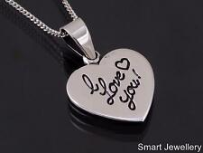 925 STERLING SILVER ENGRAVED HEART I LOVE YOU PENDANT NECKLACE JEWELLERY