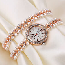 Women Faux Pearl Bracelet Wrist Analog Quartz Crystal Rhinestone Dial Watch