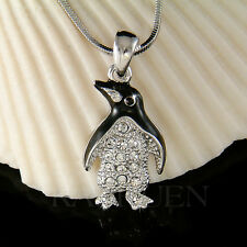 w Swarovski Crystal Black White Emperor ~Penguin Antarctica Jewelry Necklace New
