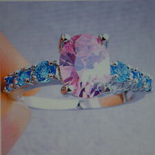 Beautiful 925 Silver Ring With Opal And White Topaz 1.9 Gr.Size N12 In Gift Box