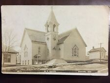 RPPC Postcard M E Church Stanton NE Stained Glass Bell Tower C 1910s