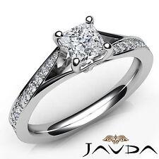 Princess Cut Pave Set Diamond Engagement Ring GIA E VS1 18k White Gold 0.85Ct