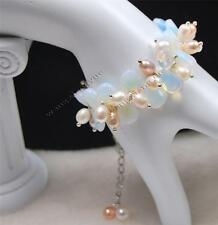 Charming!Rice Shape Pearl/Faceted Moonstone Teardrop Beads Bracelet