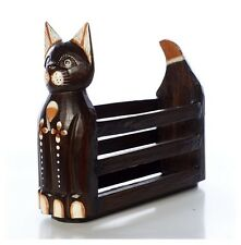 FAIRTRADE BROWN WOODEN CAT MAGAZINE RACK  BRAND NEW FREE POSTAGE CM HIGH