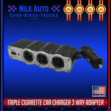3 Way Car Cigarette Lighter Socket Splitter DC Power Charger Adapter 1 USB 12V