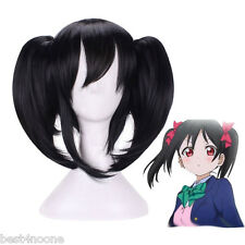 Love LIVE Black Straight 2 Ponytails Full Nico Yazawa Cosplay Wigs Curly Lolita