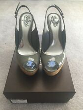Gucci Sofia Green Patent Leather Straw Wedge Heel Shoes Size 38.5