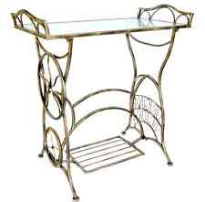 Antique Glass Console Table Gold Finish Vintage Style Hallway Side Furniture