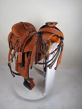 "16"" Western Wade Ranch Roping Saddle Hard Seat with Package HS/BC & Girth TAN"