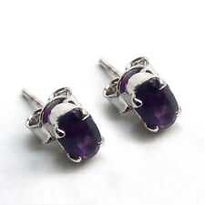 Pure 92.5 Solid Sterling Silver Genuine amethyst oval Studs Earrings jewelry
