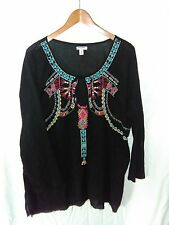 Womens Old Navy Black Embroidered Peasant BOHO Cotton Top XL