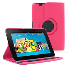Hot Pink 360 Rotating PU Leather Case Cover for Amazon Kindle Fire HD 8.9 INCH