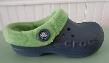 CROCS BLITZEN Blue Green POLAR MAMMOTH Lined Boys Girls Youth sz 3 shoes