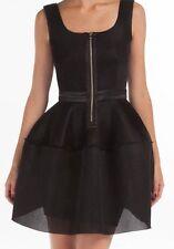 MAJE (Size 1) Dentelle Noir Black Dress honeycomb Mesh Diva Zip-front Flare Robe