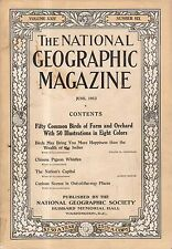 1913 National Geographic June - Chinese Pigeon whistles; Birds in Color;  D.C.