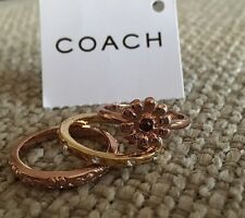 Coach Gold Toned Flower 3 Stack Ring Set  Size 7