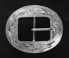 "1"" Hand Engraved Silver Plated Center Bar Cart Buckle"