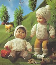 "VINTAGE KNITTING PATTERN 16-24"" DOLLS CLOTHES 5 OUTDOOR ITEMS TO KNIT"