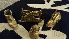 Job lot of brass ornaments inc boot, letter & milk maiden & rabbit x 4