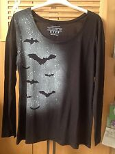 Rock, Goth, Punk, Bats Hand Spray Painted Long Sleeve Slouchy Top. Size 18