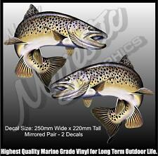 BROWN TROUT - 250mm x 220mm - MIRRORED PAIR - BOAT DECALS