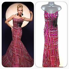 BNWT Tony Bowls Paris Embellished 110713 Red Multi Evening Occasion Prom Dress 8