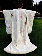 Japanese Uchikake Wedding Kimono White Light Pink Crane Flower Cart
