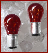 Red Glass 1157 Tail Light Lights Bulbs Dual Filament Offset PINS 12V STOP #82