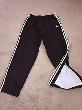 Adidas black shiny nylon lined tear away button snap pants extra large nice!!!