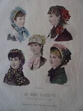 GRAVURE MODE ILLUSTRE 1881 CHAPEAUX DE MME VILLEDIEU N° 17