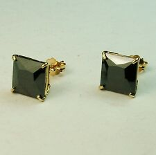 14k solid yell. gold natural square 6mm black onyx stud earrings butterfly backs