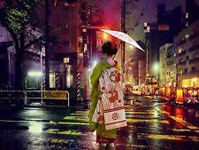 PHOTO GEISHA MODERN JAPAN RAIN DAWN FIELDING LARGE WALL ART PRINT POSTER LF1971