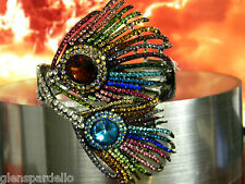 KIRKS FOLLY The Grand Peacock Feather Hinged Cuff Bracelet (Silvertone/Multi)NEW