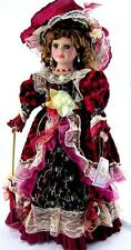"""VICTORIAN PORCELAIN  DOLL BURGUNDY DRESS  22""""H COLLECTIBLE"""