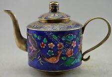 Collectible Decorated Old Cloisonne Carved Dragon Flower Bird Tea Pot
