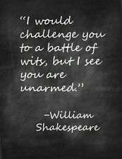 Battle of Wit William Shakespeare Quote 8x10 Fabric Block - Buy 2, Get 1 FREE!