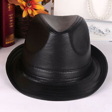 Men Women Leather Bucket Cap Brim Black Jazz Trilby Panama Hat Fedora Dance Cap
