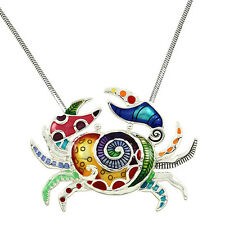 """Large Golorful  Enameled Crab Pendant  Necklace with  24"""" Chain"""