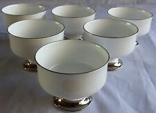 6 Royal Victoria Fine Bone China Pedestal Dessert Sherbert Dishes silver trim