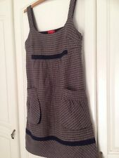 Derhy Tweed Wool Cute Ditsy Pinafore Big Pockets Lined Dress Size S 8/10