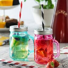 SCORIA Cocktail Mason Style Jar Mug for Juices|Milk Shake  Pack OF 2 (SMALL)