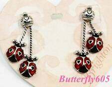 Brighton LOVE BUG Ladybug Silver Post Earrings NWT