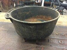 "Vintage Cast Iron Footed Pan Pot Kettle Handle 10""x6"" Rustic"