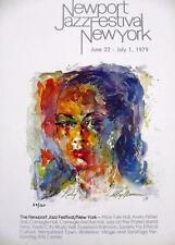 """Leroy Neiman LE Numbered Bookplate """"Newport Jazz Festival NY"""" Billie Holiday Art"""