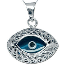 "Evil Eye Charm Pendant Necklace 18"" Chain Silver White Gold Plated TURKISH NAZAR"