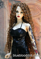 "1/3 bjd 9-10"" doll head copper brown curly long wig Soom Luts dollfie Loongsoul"