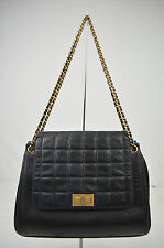 AUTH CHANEL CC BLACK GOLD ACCORDION LAMBSKIN LEATHER CHOCOLATE BAR SHOULDER BAG